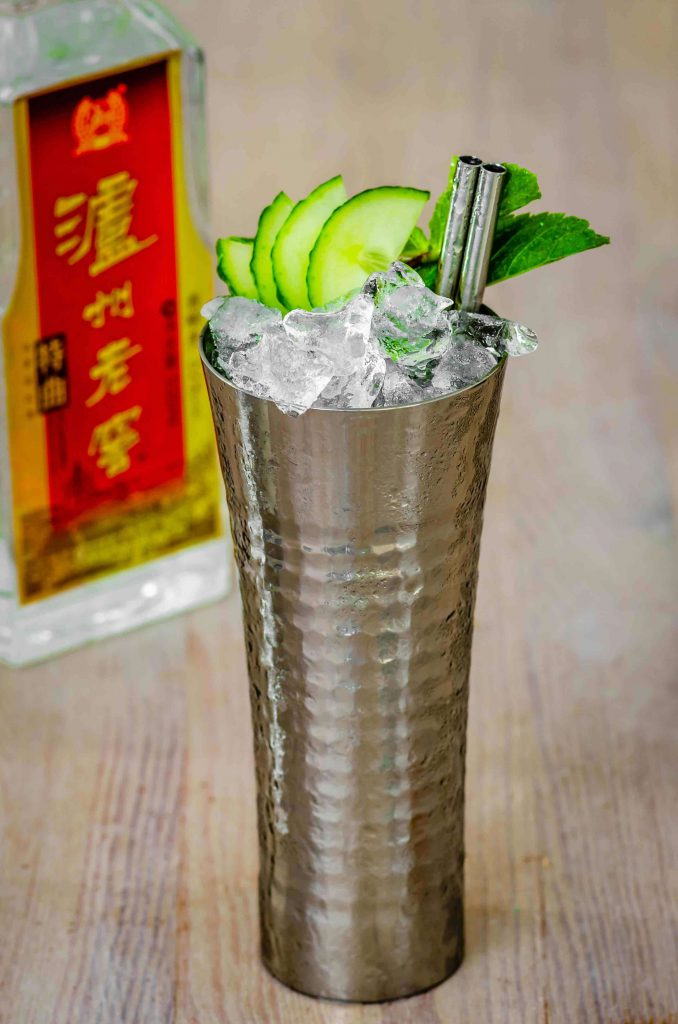 Baijiu cocktail with cucumber