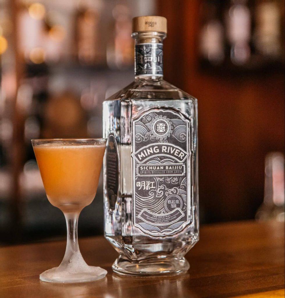 Baijiu cocktail with bottle