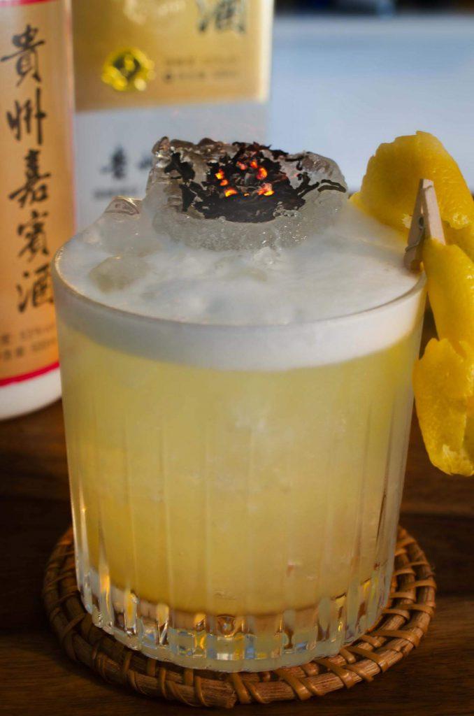 Baijiu cocktail with smoked tea