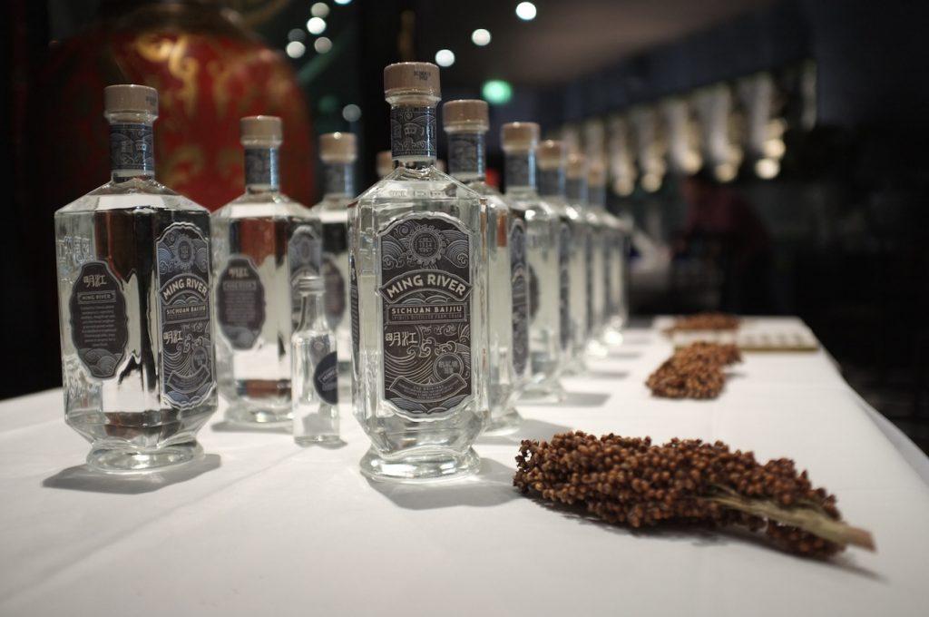 Bottles of baijiu with sorghum