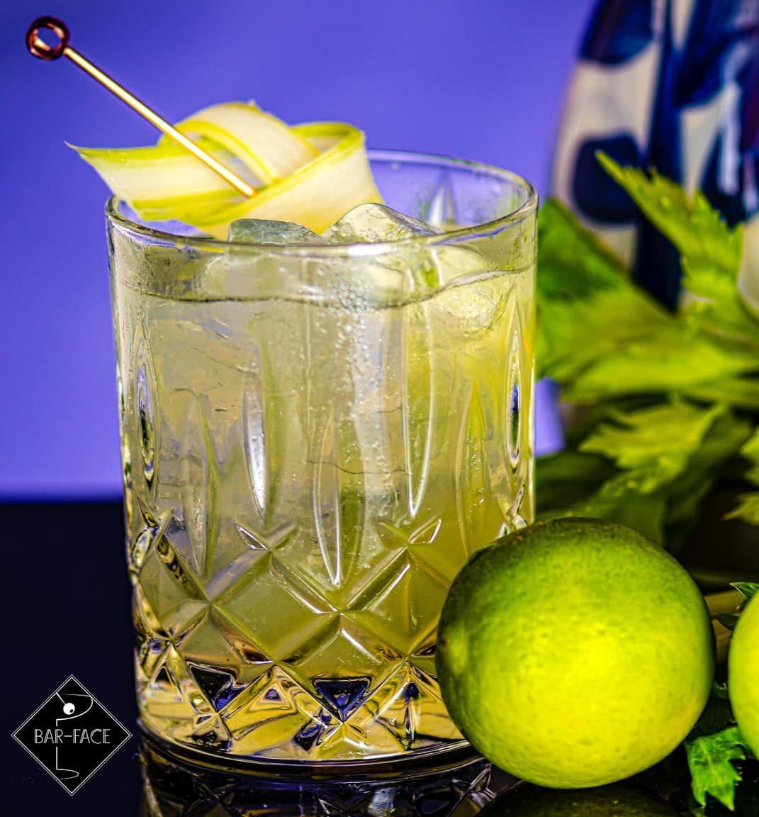 Green baijiu cocktail with lime