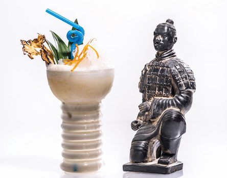 Baijiu cocktail with terracotta warrior