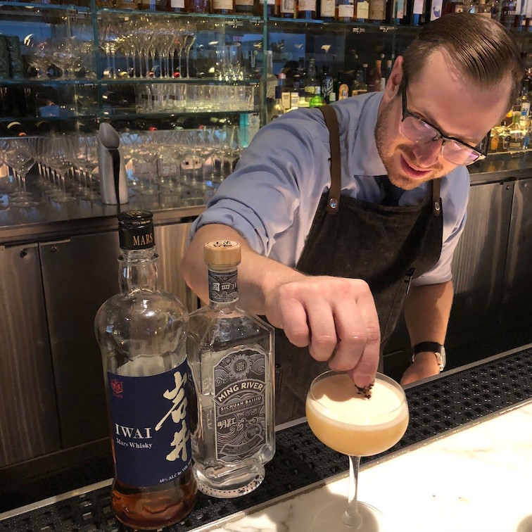 Patrick Smith making baijiu cocktails at the Modern NYC