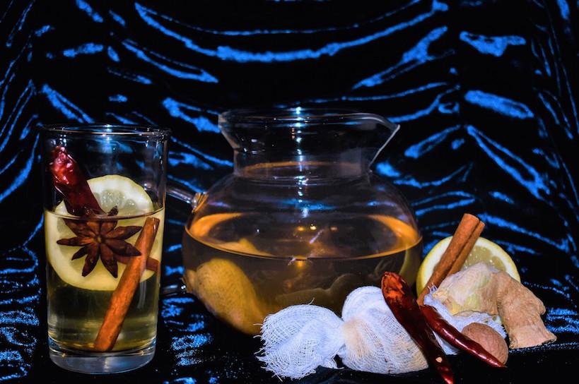 A pitcher and glass of baijiu cocktails