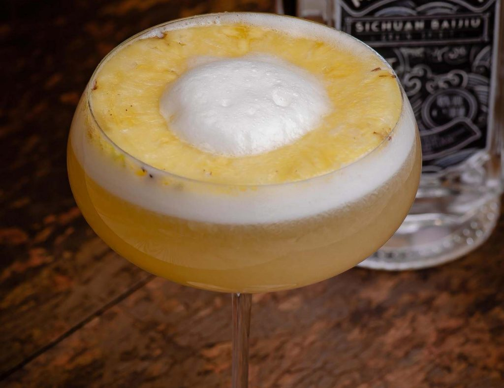 Baijiu cocktail with pineapple
