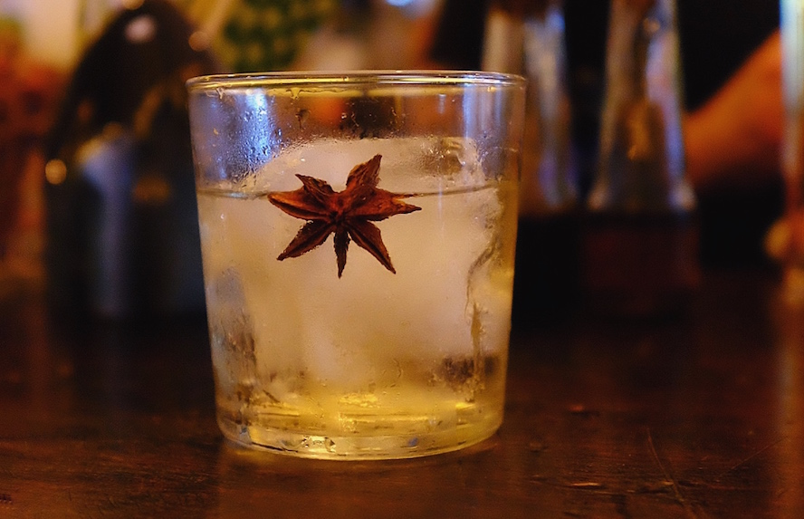 Baijiu cocktail with star anise