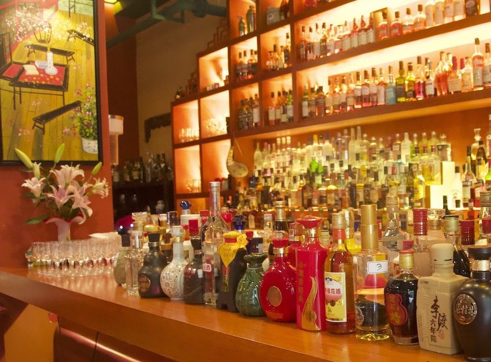 baijiu bottles at bar